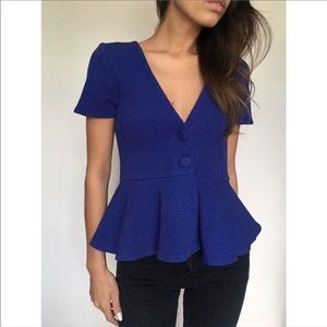 Anthropologie Ganni Textured Blue Button Up Blouse